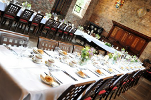 Bedern Hall dining tables with white tablecloths